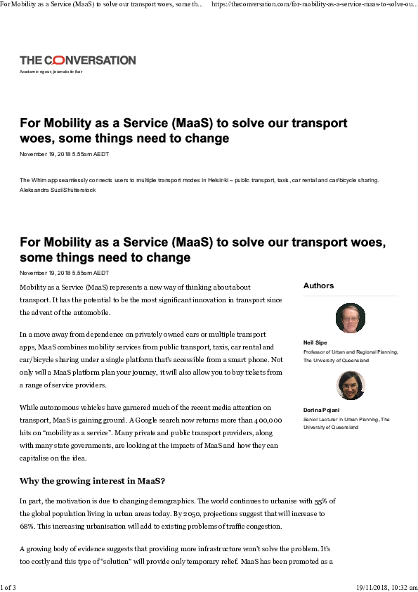 PDF) For Mobility as a Service (MaaS) to solve our transport woes