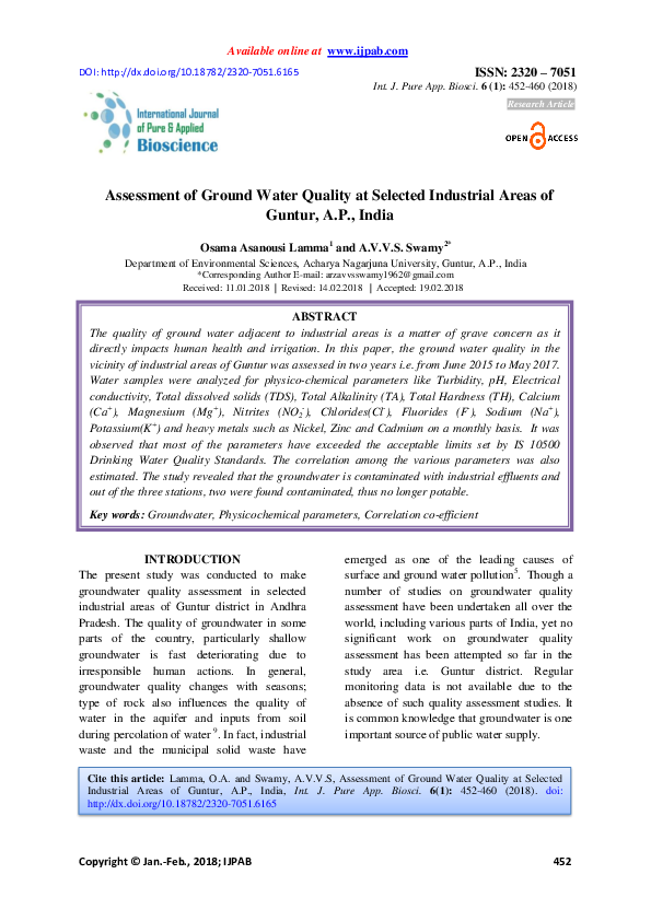 PDF) Assessment of Ground Water Quality at Selected