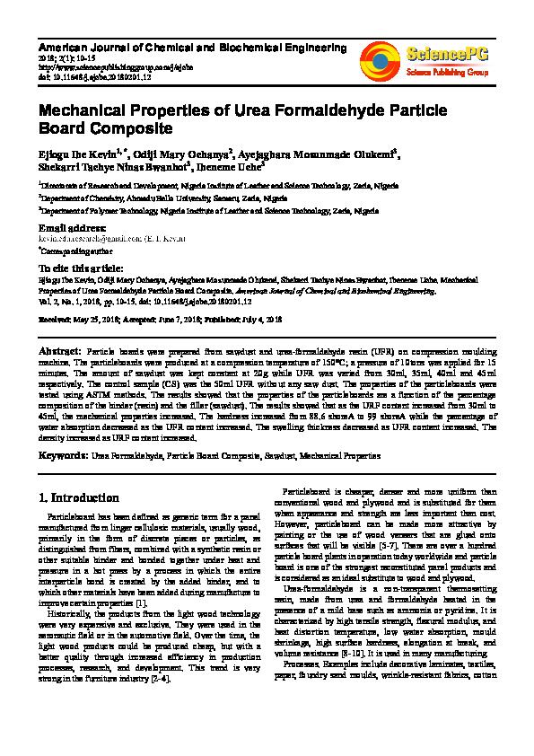 PDF) Mechanical Properties of Urea Formaldehyde Particle Board