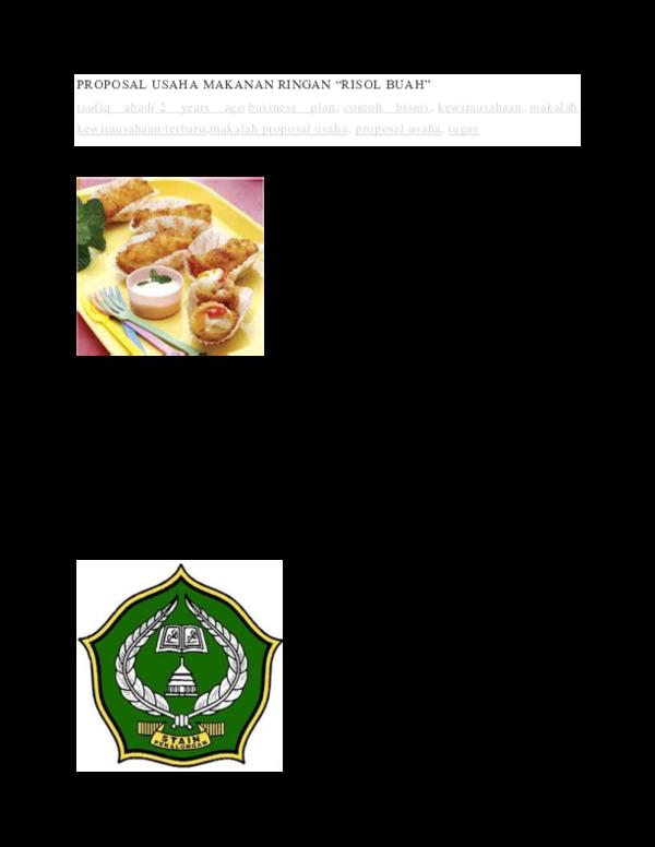 Contoh Proposal Usaha Makanan Ringan Doc