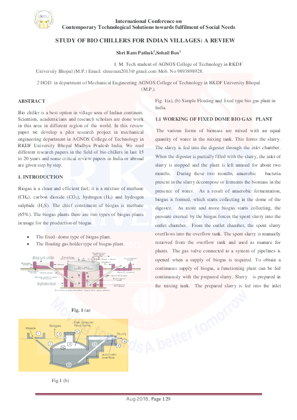 PDF) Study of Bio Chillers for Indian Villages: A Review
