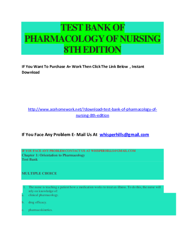 DOC) TEST BANK OF PHARMACOLOGY OF NURSING 8TH   ronshall