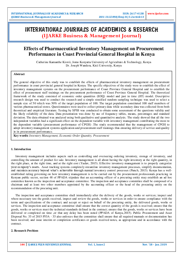 PDF) Effects of Pharmaceutical Inventory Management on Procurement