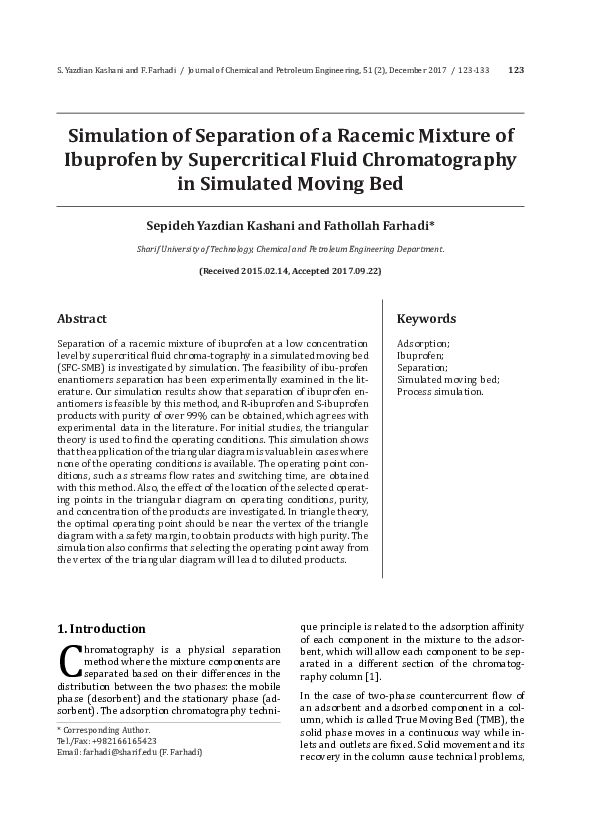 PDF) Simulation of Separation of a Racemic Mixture of Ibuprofen by