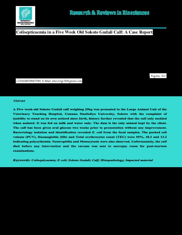 PDF) colisepticaemia-in-a-five-week-old-sokoto-gudali-calf-a-case ...
