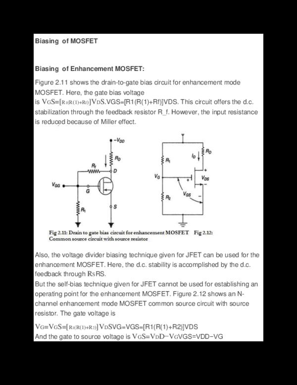 DOC) Biasing of MOSFET | John Pragasam D - Academia edu