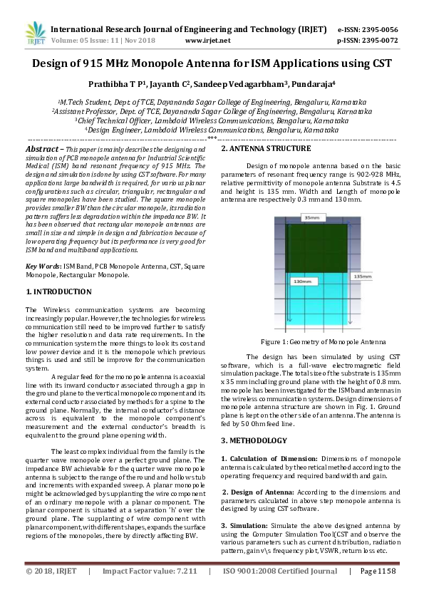 PDF) Design of 915 MHz Monopole Antenna for ISM Applications using