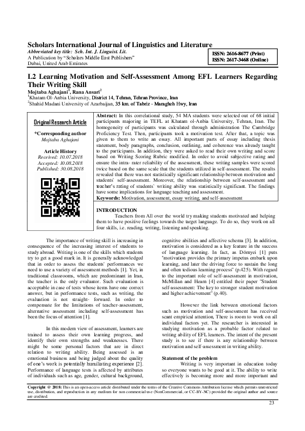 PDF) Scholars International Journal of Linguistics and Literature L2