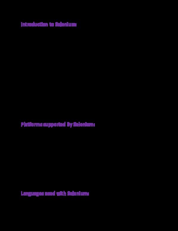 PDF) Introduction to Selenium | Raman Saini - Academia edu
