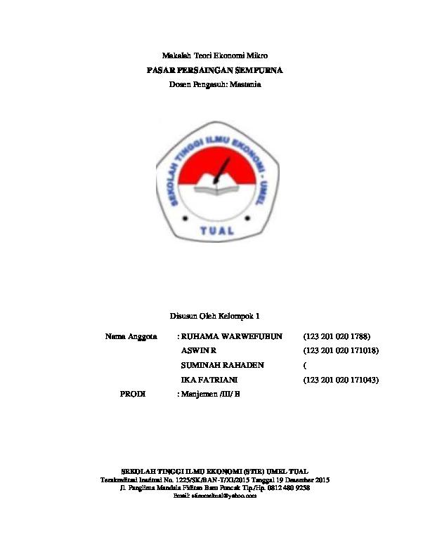 Doc Makalah Teori Ekonomi Mikro Ika Fatriani Academia Edu