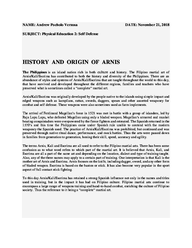 Doc Name Andrew Pocholo Verzosa History And Origin Of Arnis Andrew Pocholo Verzosa Academia Edu