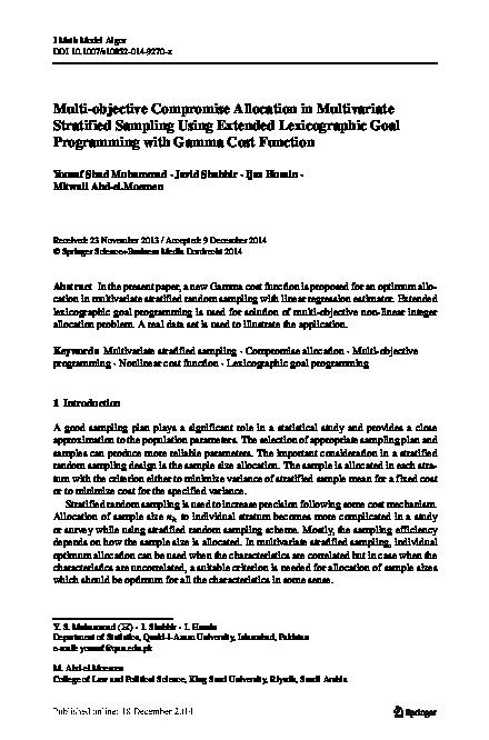 PDF) Multi-objective Compromise Allocation in Multivariate