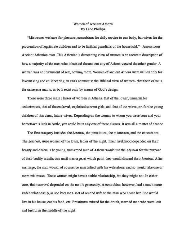 PDF) Women of Ancient Athens | Sheridan Phillips - Academia edu