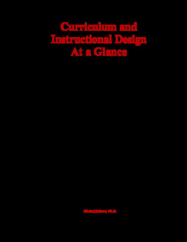 Pdf Curriculum And Instructional Design At A Glance Khaled Sellami Academia Edu