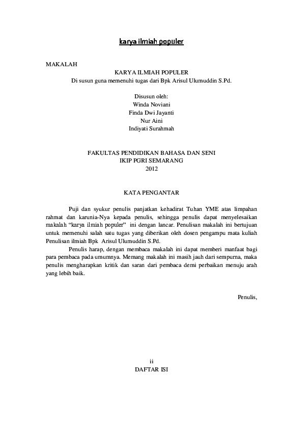 Doc Karya Ilmiah Populer Kontrakan Team Academia Edu