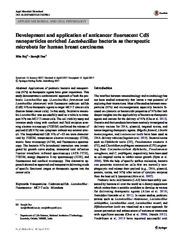 PDF) Development and application of anticancer fluorescent
