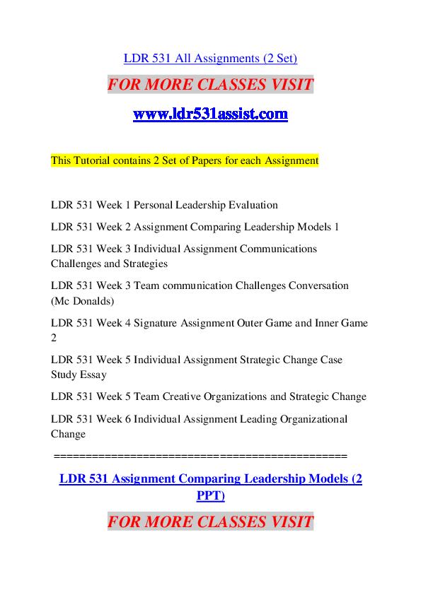 PDF) LDR 531 ASSIST Education Counseling -- ldr531assist com