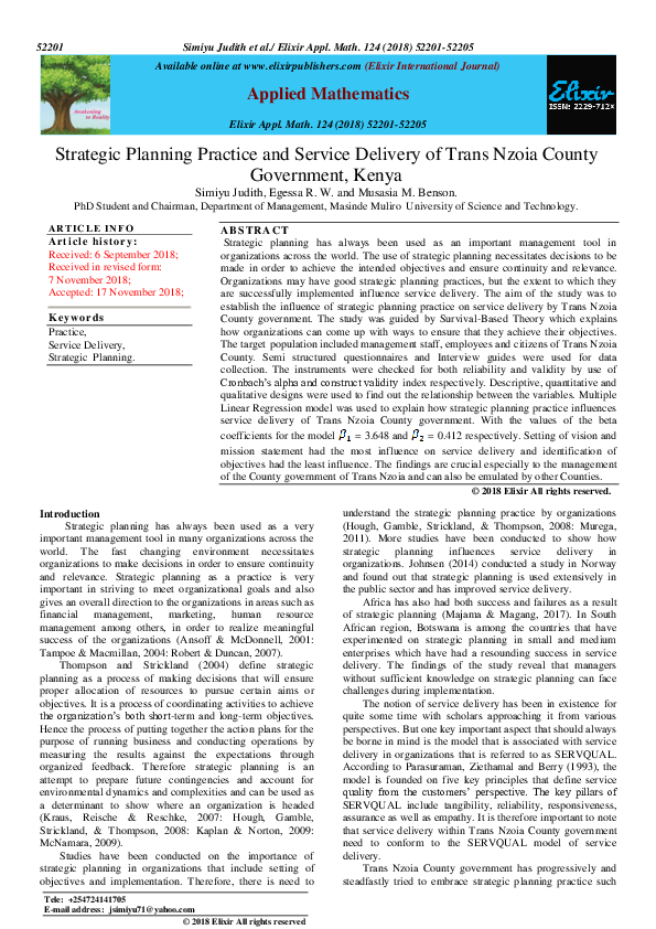 PDF) Strategic Planning Practice and Service Delivery of Trans Nzoia