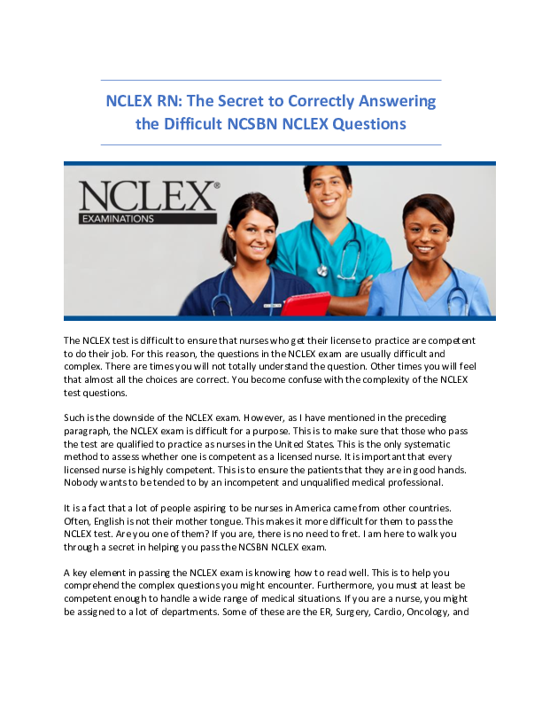 PDF) NCLEX RN: The Secret to Correctly Answering the