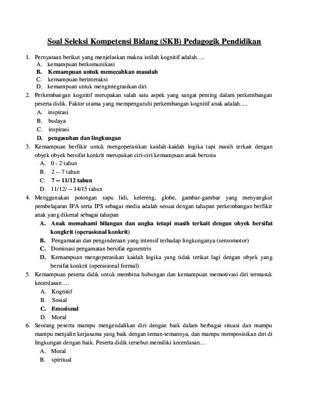 Pdf Soal Seleksi Kompetensi Bidang Skb Pedagogik Pendidikan Nur Sholihin Academia Edu