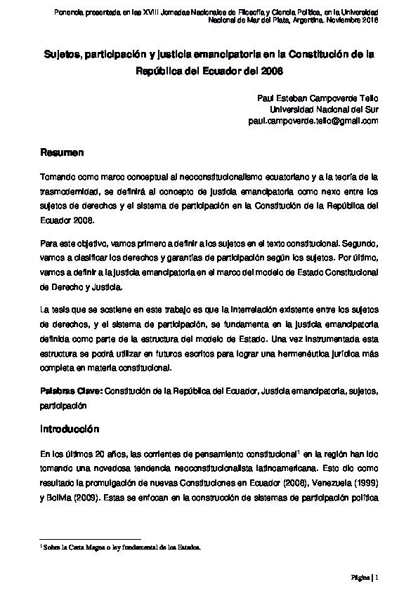 Pdf Sujetos Participación Y Justicia Emancipatoria En La