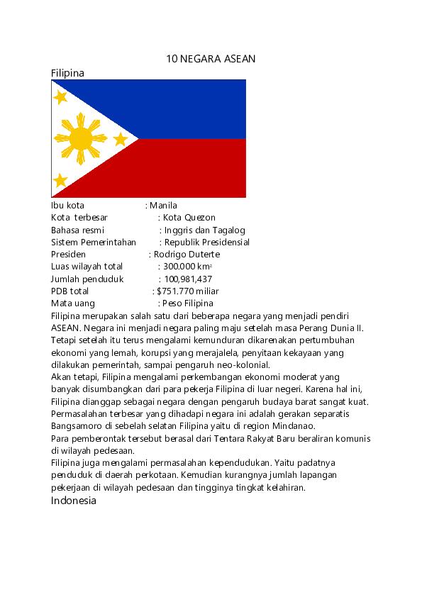 Gambar Negara Asean Beserta Ibukotanya Doc 10 Negara Asean Docx Agus Dwi Soma Jaya Hs I Kadek Academia Edu