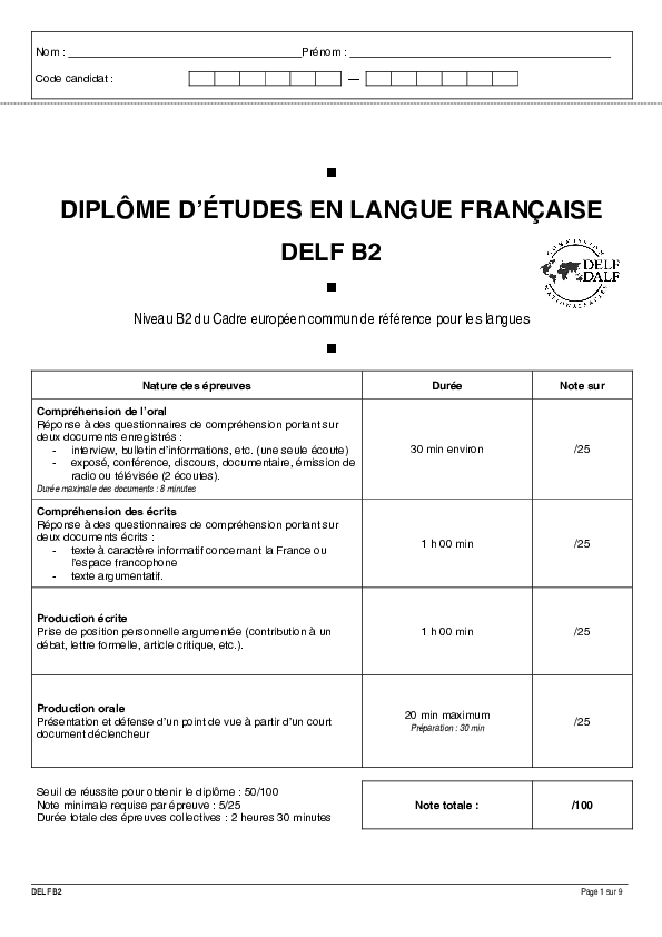 Pdf Exemple 1 Sujet Complet Delf B2 Tous Publics Francis