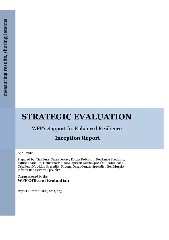 PDF) STRATEGIC EVALUATION WFP's Support for Enhanced Resilience, WFP