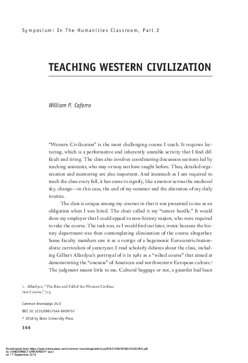 PDF) TEACHING WESTERN CIVILIZATION | William Caferro