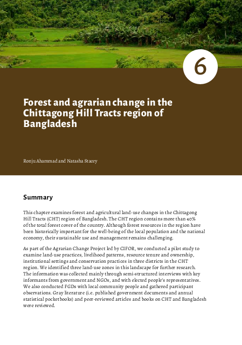 PDF) Forest and agrarian change in the Chittagong Hill