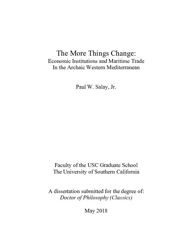 PDF) The More Things Change: Economic Institutions and