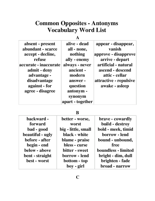 DOC) Common Opposites -Antonyms Vocabulary Word List   ah