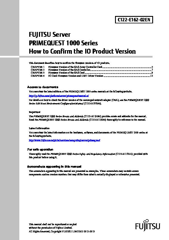PDF) FUJITSU Server PRIMEQUEST 1000 Series How to Confirm