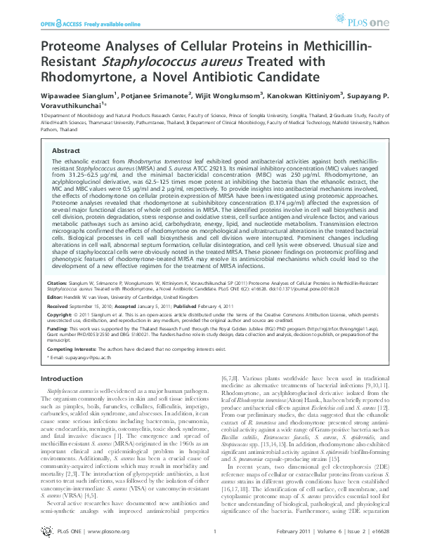 PDF) Proteome Analyses of Cellular Proteins in Methicillin-Resistant