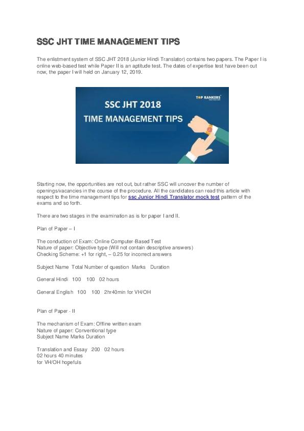 PDF) SSC JHT TIME MANAGEMENT TIPS | Baba Fareed - Academia edu