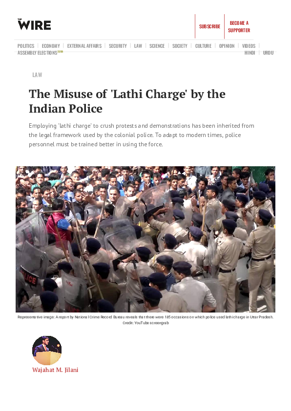 PDF) The Misuse of 'Lathi Charge' by the Indian Police
