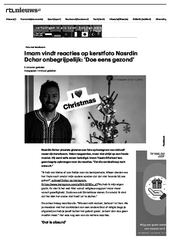 Imam Vindt Reacties Op Kerstfoto Nasrdin Dchar Onbegrijpelijk Doe