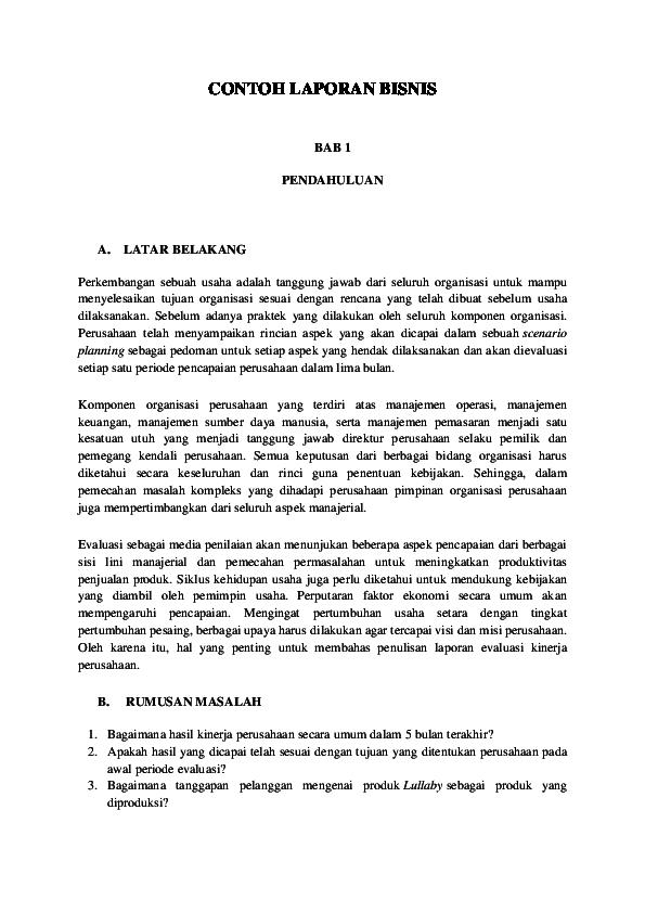 Pdf Contoh Laporan Bisnis Yayang Novita Sari Academia Edu