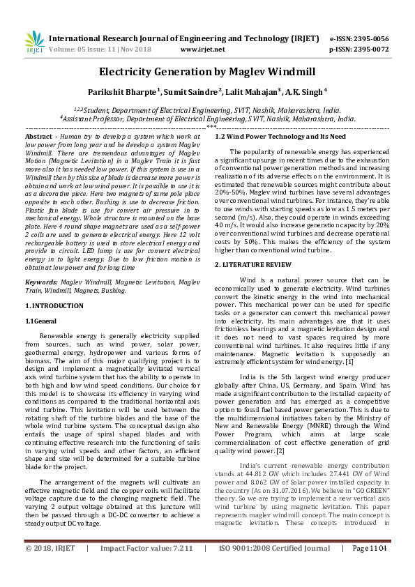 PDF) IRJET- Electricity Generation by Maglev Windmill ... on