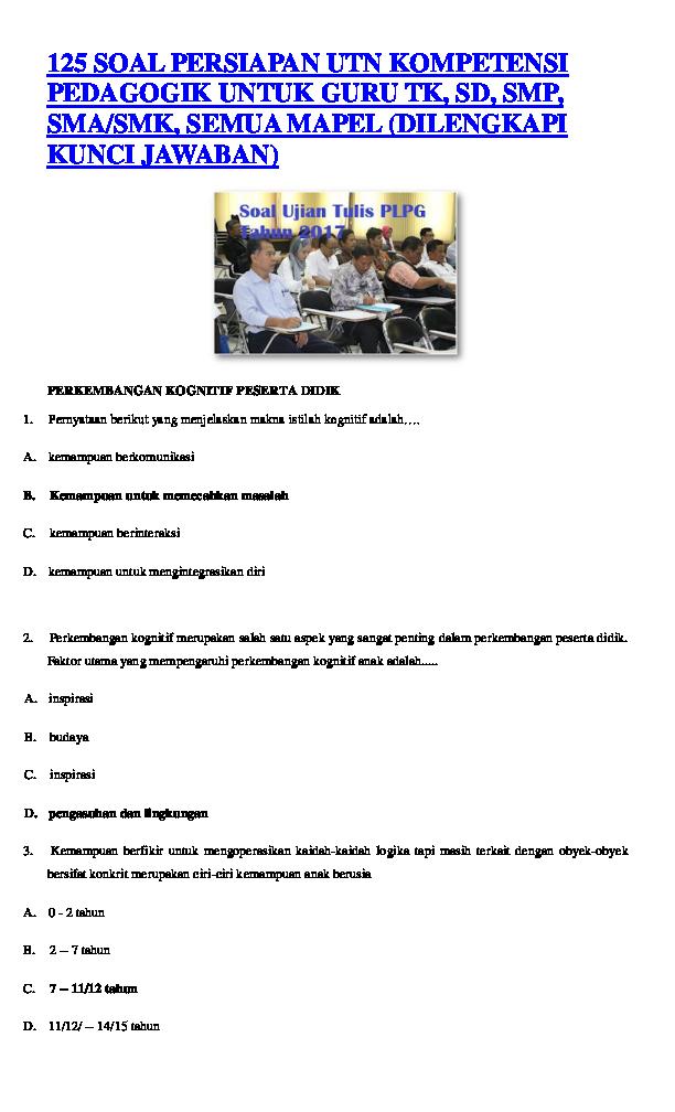 Doc 125 Soal Persiapan Utn Kompetensi Pedagogik Untuk Guru Tk Docx Desri Meliani Academia Edu