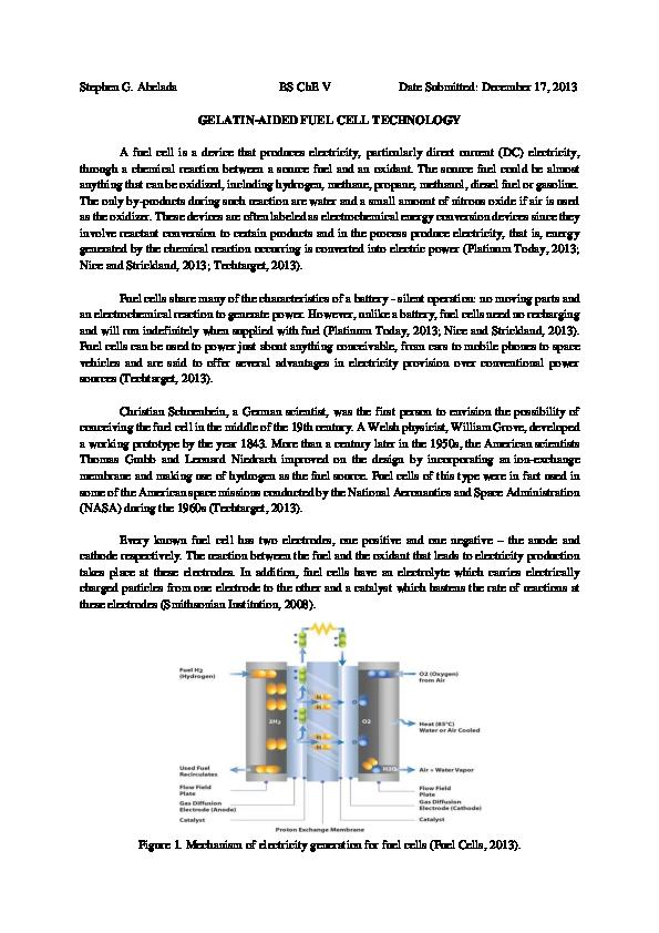 PDF) Gelatin-aided Fuel Cell Technology   Stephen Abelada - Academia edu