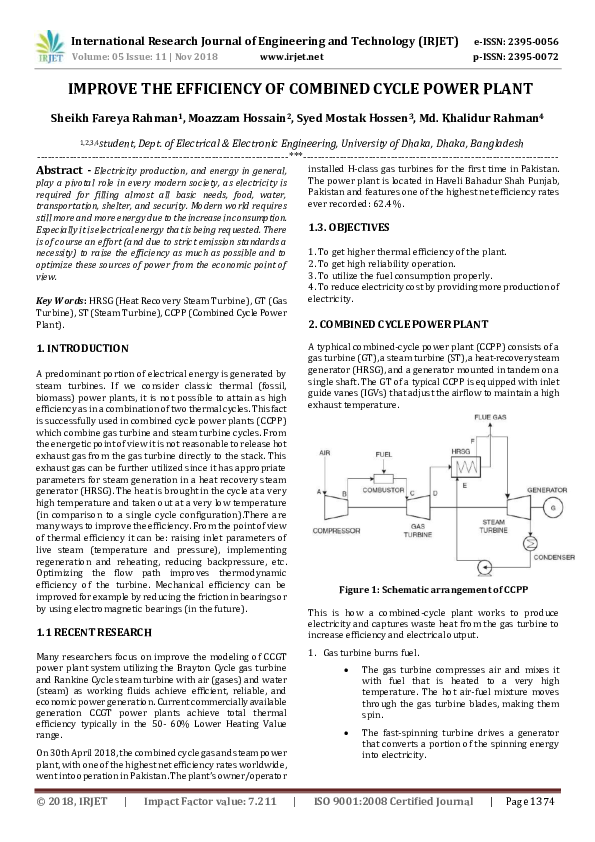 PDF) IRJET- IMPROVE THE EFFICIENCY OF COMBINED CYCLE POWER