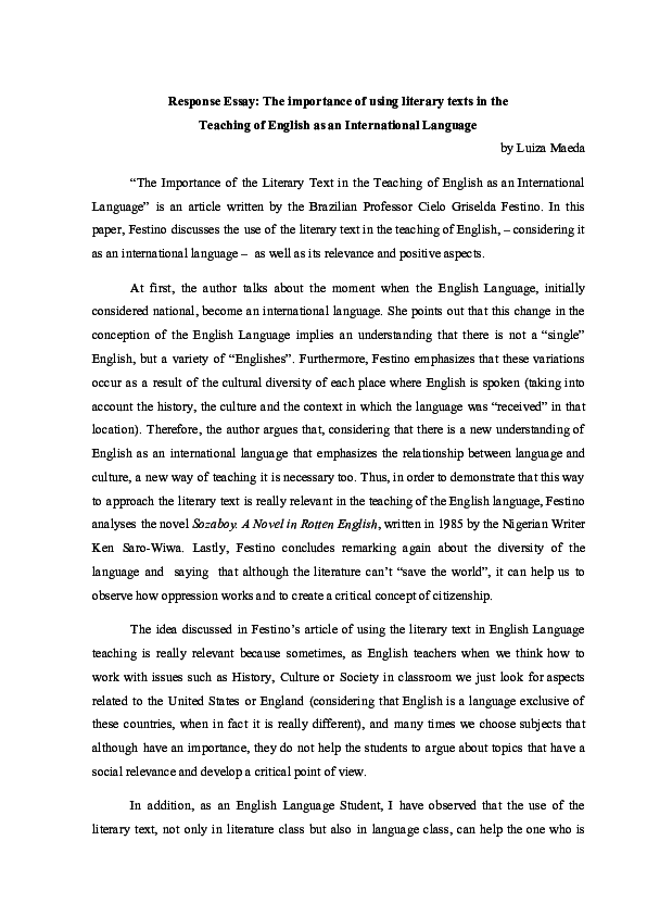 pdf response essay the importance of using literary texts in the  pdf