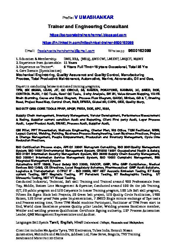 PDF) V Umashankar Trainer profile 4pg | Trainer chennai - Academia edu
