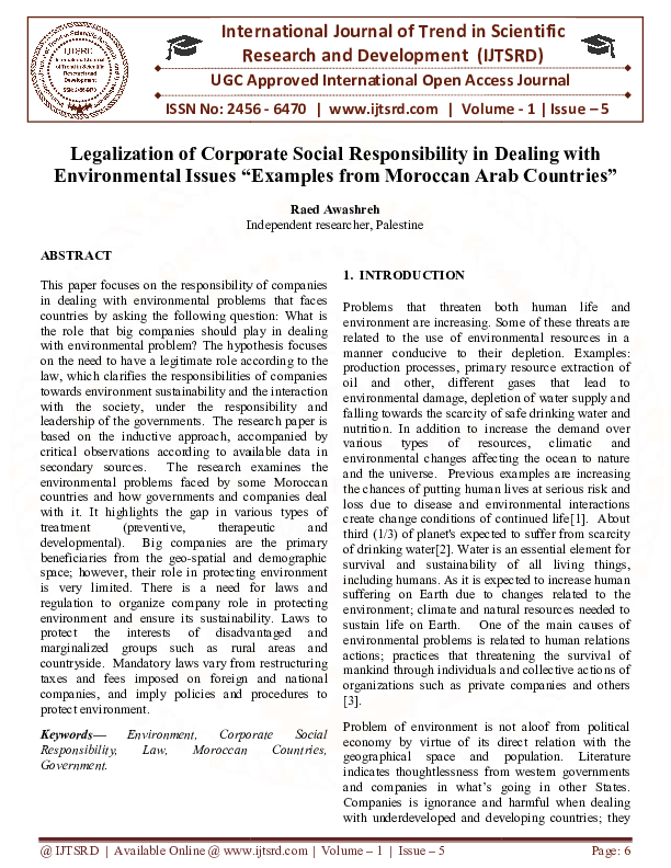 PDF) Legalization of Corporate Social Responsibility in Dealing with