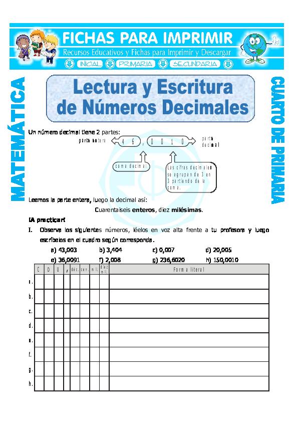 DOC) Lectura y Escritura de Numeros Decimales para Cuarto de ...