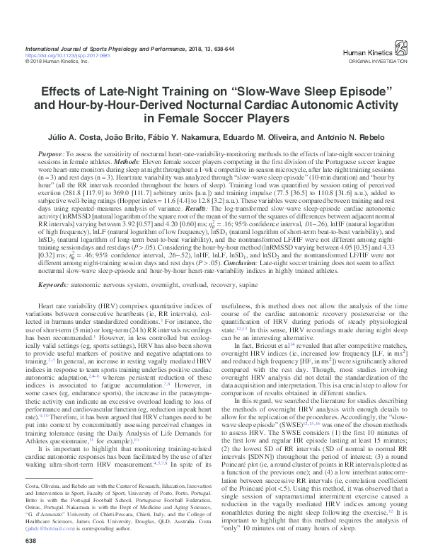 PDF) Effects of Late-Night Training on