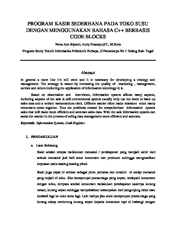 Pdf Program Kasir Sederhana Pada Toko Susu Dengan Menggunakan Bahasa C Berbasis Code Blocks Nova Riyanti Academia Edu