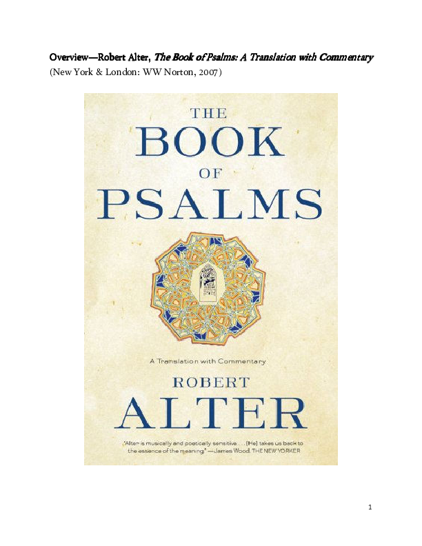 PDF) Overview of Robert Alter, The Book of Psalms--A