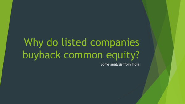 PDF) Why do listed companies buyback common equity? Some